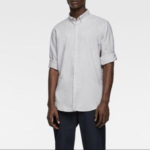 Zara Linen Tabbed shirt size M pearl gray